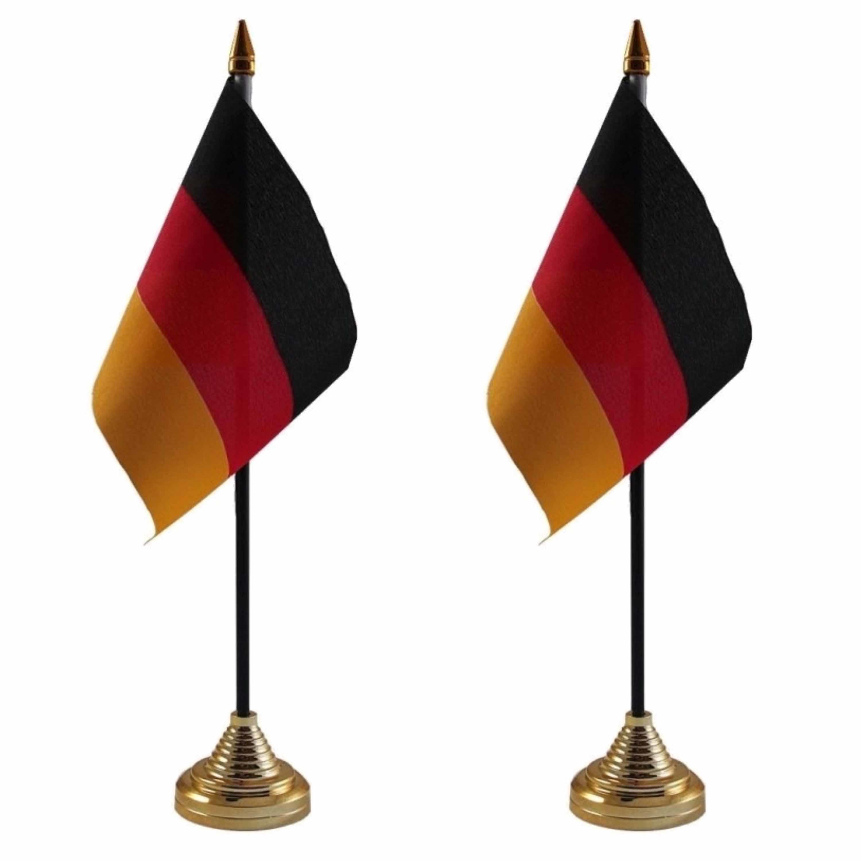 2x stuks duitsland tafelvlaggetjes 10 x 15 cm met standaard