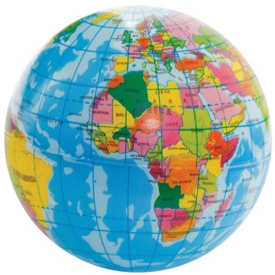 2x stuks Foam aarde wereldbol 6 cm
