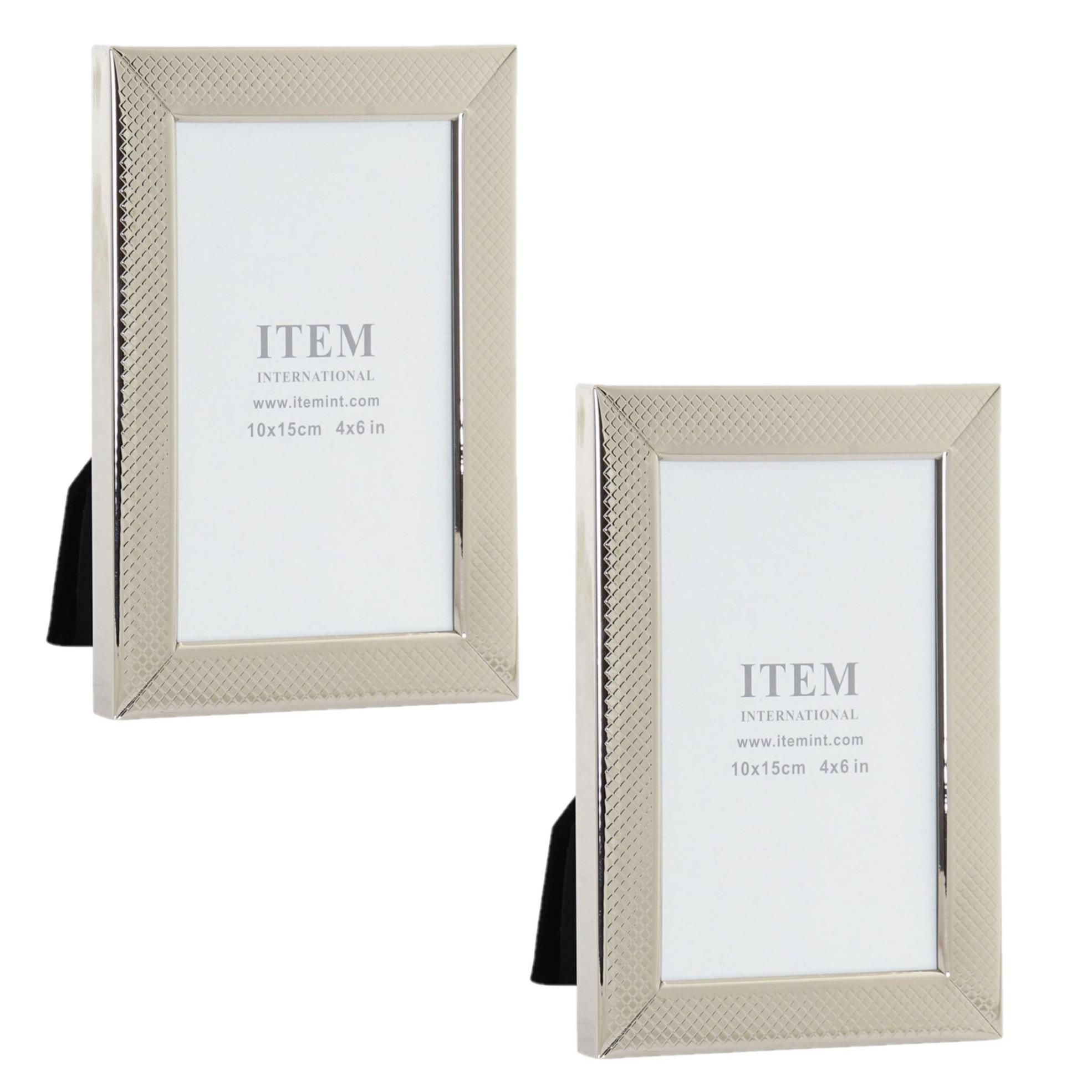 2x stuks fotolijstjes zilver geschikt voor een foto van 10 x 15 cm