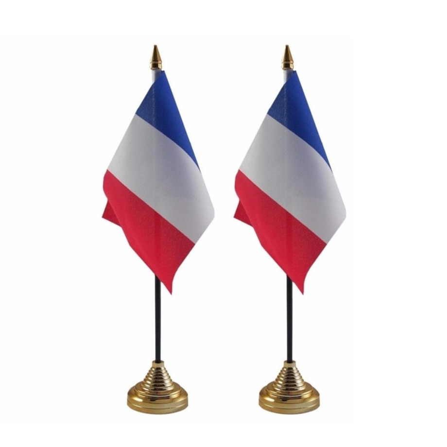 2x stuks Frankrijk tafelvlaggetje 10 x 15 cm met standaard