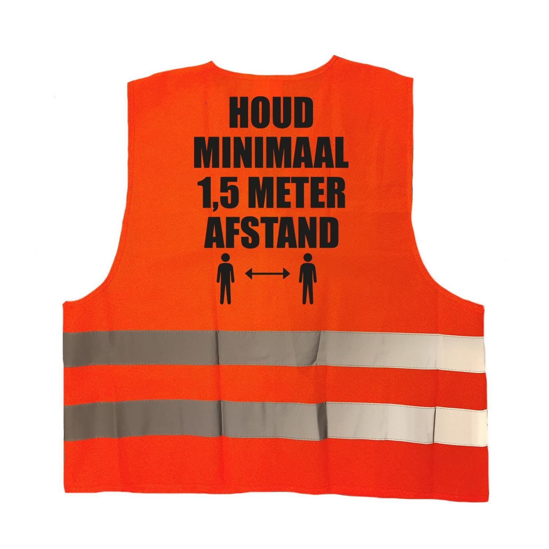 2x stuks houd 1,5 meter afstand pictogram vestje - hesje oranje met reflecterende strepen voor volwa