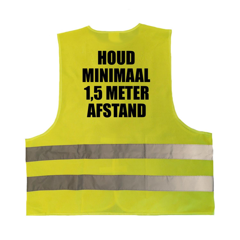 2x stuks houd 1,5 meter afstand vestje - hesje geel met reflecterende strepen voor volwassenen