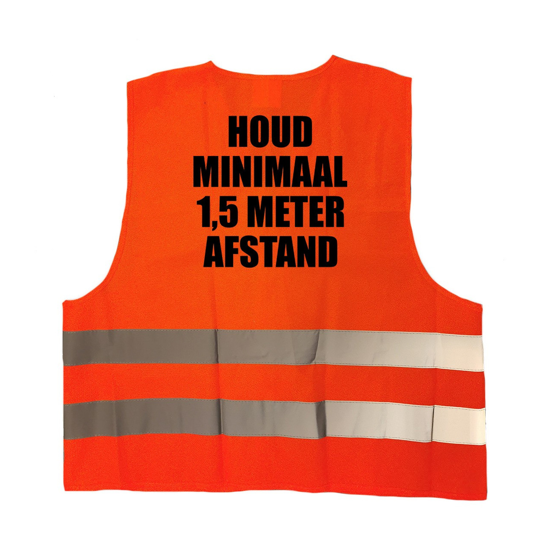 2x stuks houd 1,5 meter afstand vestje - hesje oranje met reflecterende strepen voor volwassenen