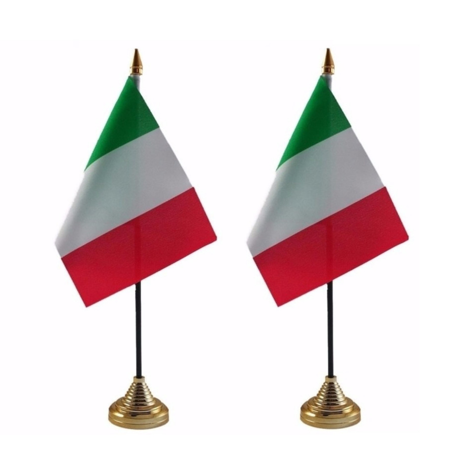 2x stuks italie tafelvlaggetje 10 x 15 cm met standaard