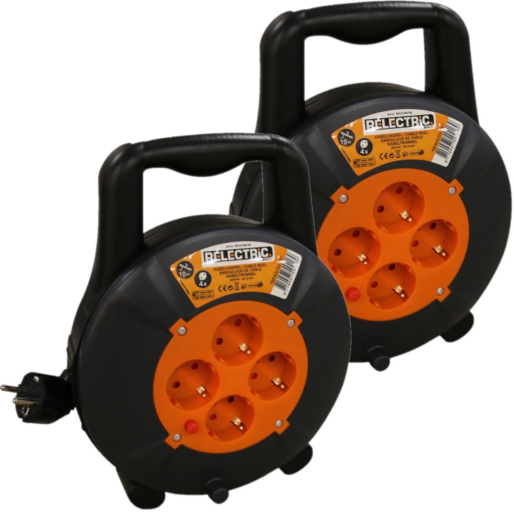 2x stuks kabelhaspels-kabelboxen oranje-zwart 10 m met 4x geaarde stopcontacten en handvat