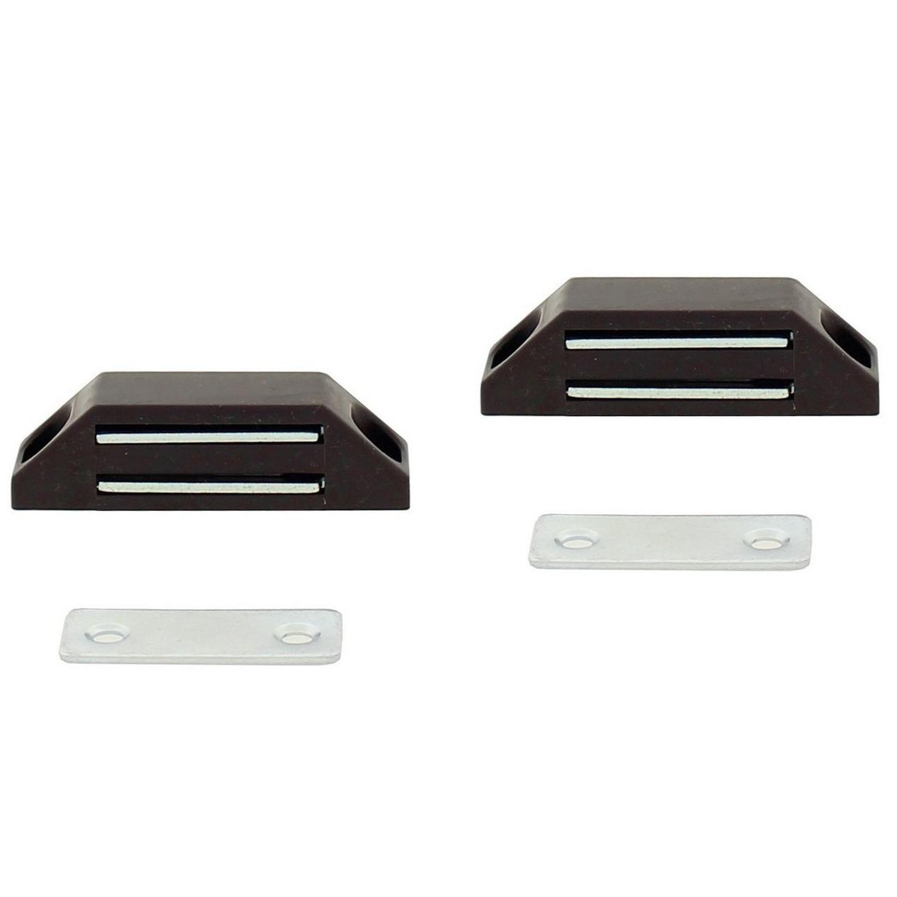2x stuks magneetsnapper - magneetsnappers met metalen sluitplaat bruin 6 x 3,8 x 1,6 cm
