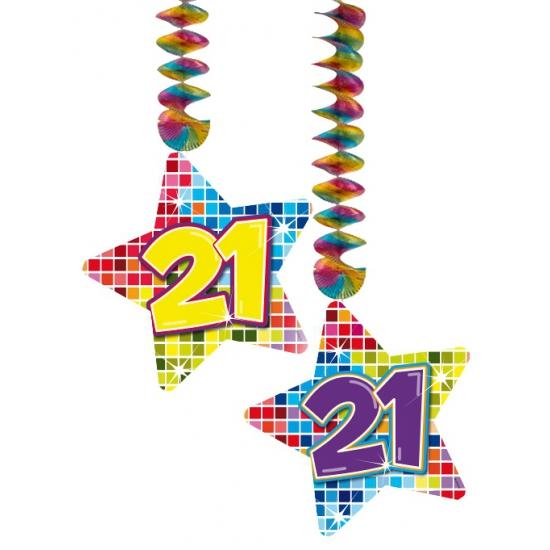 2x stuks plafond hangdecoratie sterren 21 jaar verjaardag