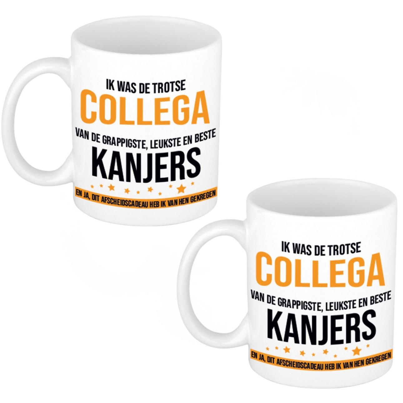 2x stuks trotse collega kanjers afscheidscadeau koffiemok - theebeker 300 ml