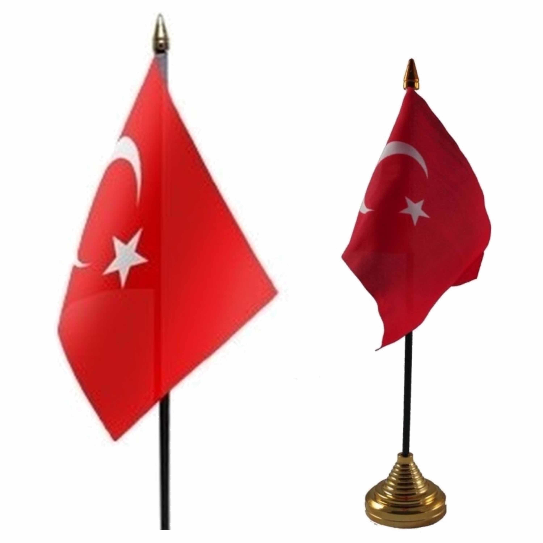 2x stuks Turkije tafelvlaggetjes 10 x 15 cm met standaard