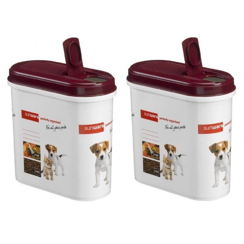 2x Sunware huisdieren voercontainer 700 gram