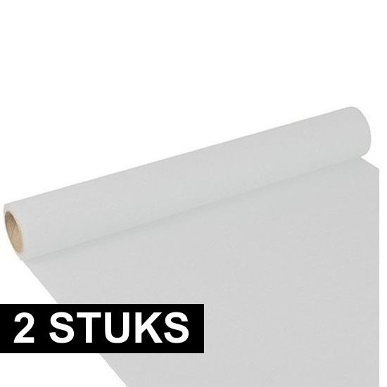 2x Tafelloper wit 300 x 40 cm papier