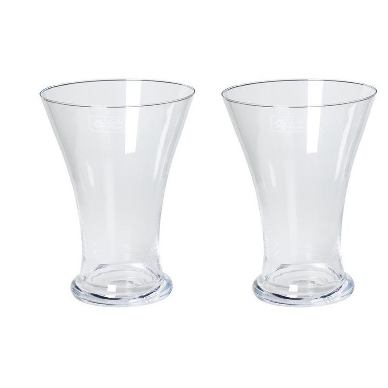 2x Taps uitlopende vazen glas 25 cm