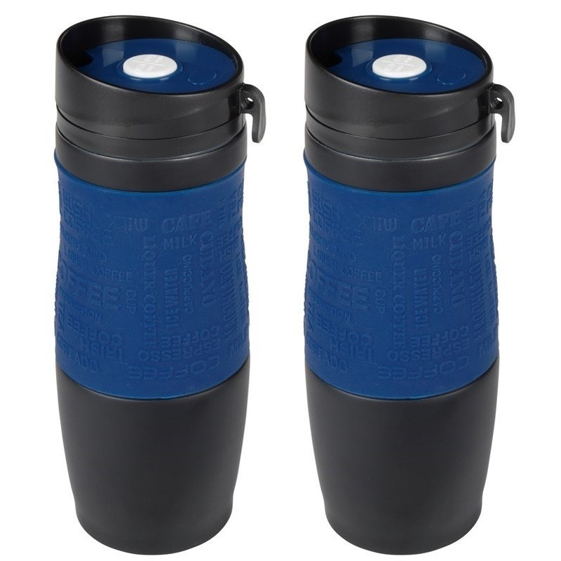 2x Thermosbekers-warmhoudbekers donkerblauw-zwart 380 ml