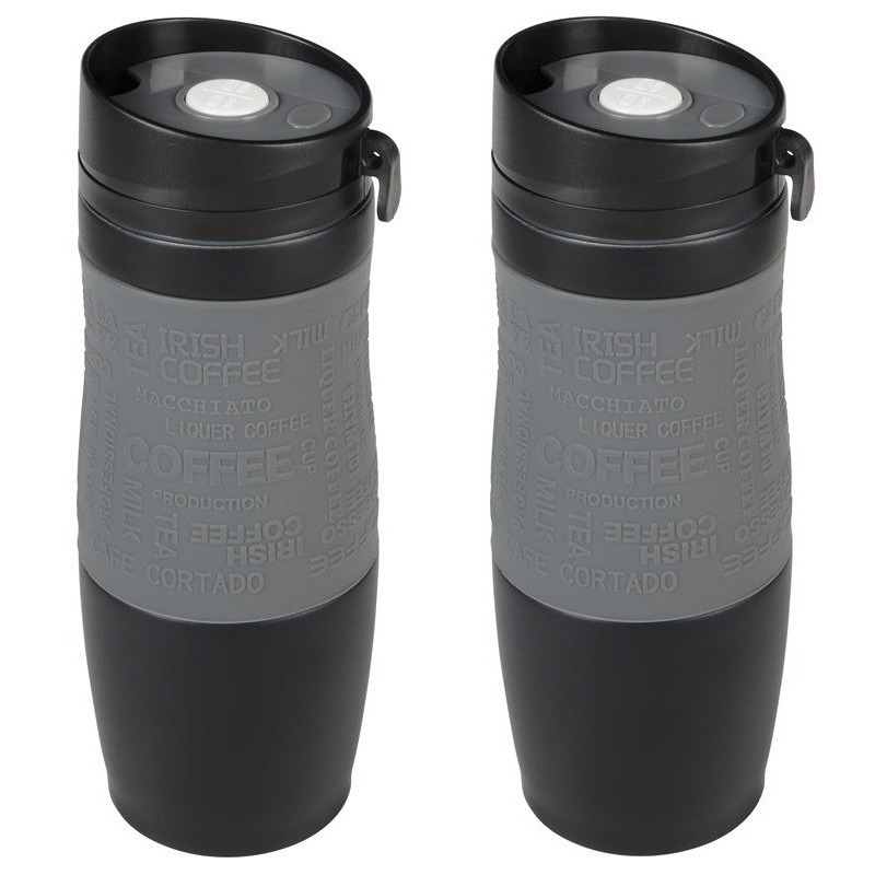 2x Thermosbekers-warmhoudbekers grijs-zwart 380 ml