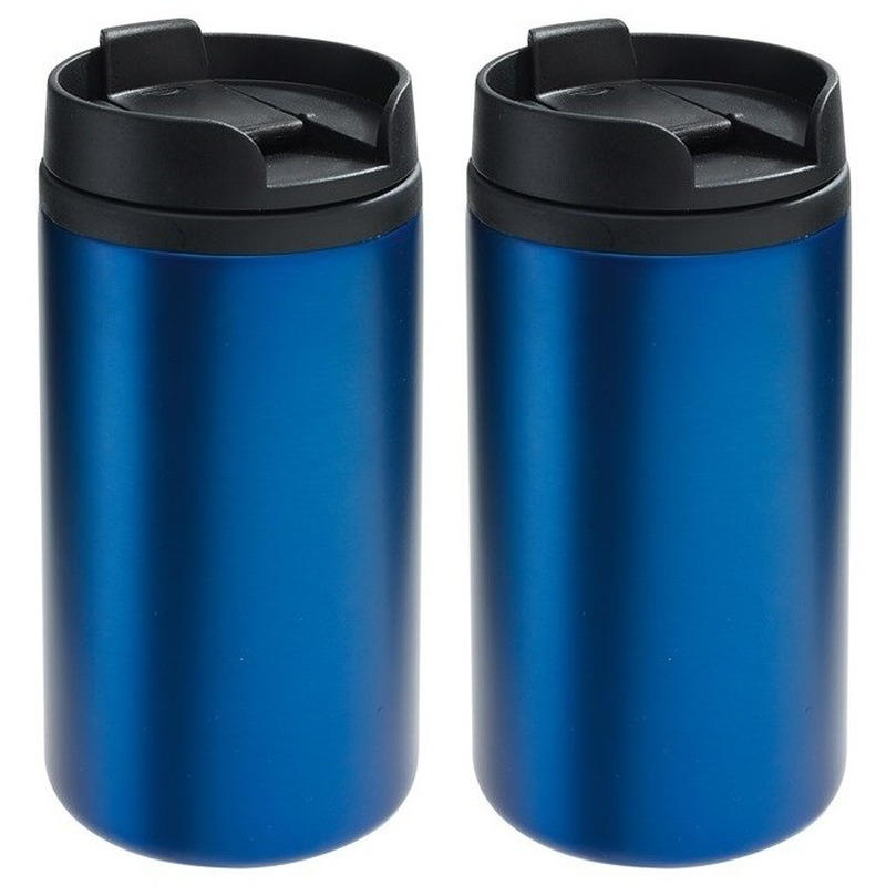 2x Thermosbekers-warmhoudbekers metallic blauw 290 ml