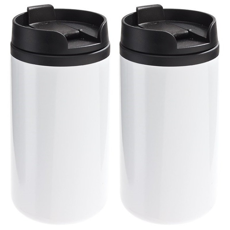 2x Thermosbekers-warmhoudbekers metallic wit 290 ml