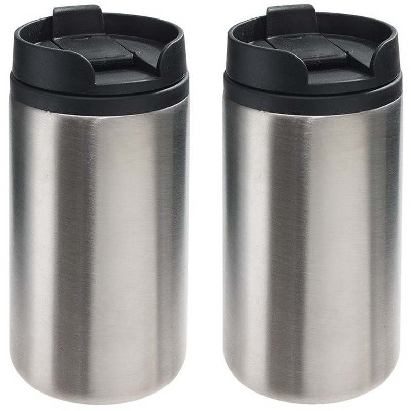 2x Thermosbekers-warmhoudbekers metallic zilver 290 ml