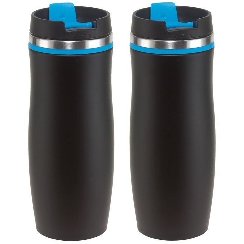2x Thermosbekers-warmhoudbekers zwart-blauw 400 ml
