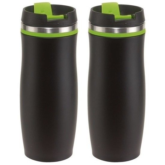 2x Thermosbekers-warmhoudbekers zwart-groen 400 ml