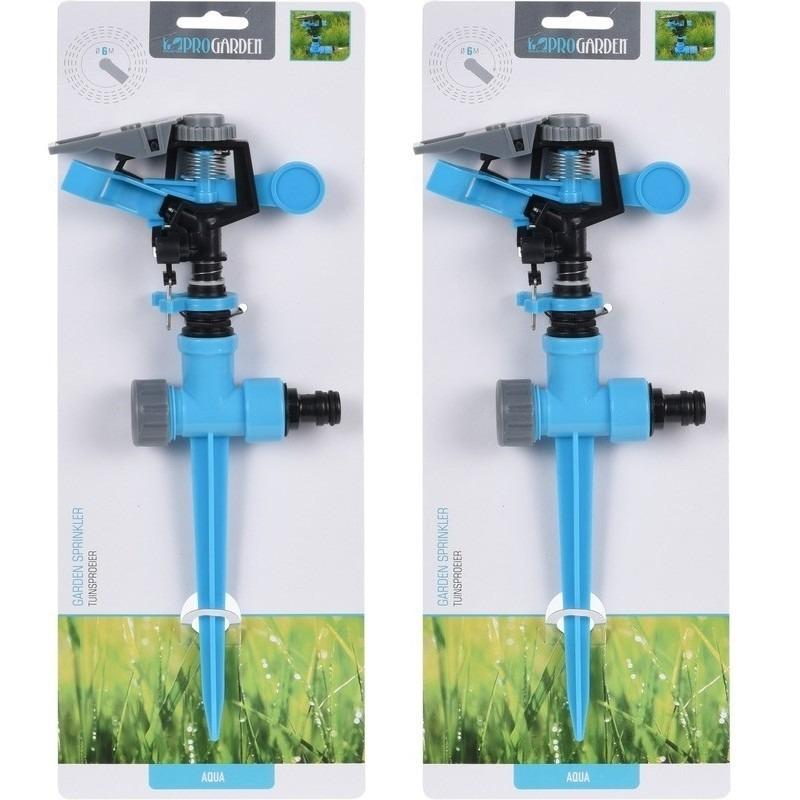 2x Tuinsproeiers/gazonsproeiers roterend 30 cm