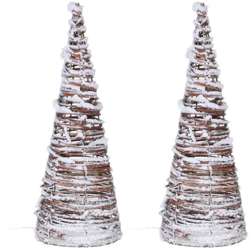 2x Verlichte figuren rotan lampen in kegelvorm 40 cm