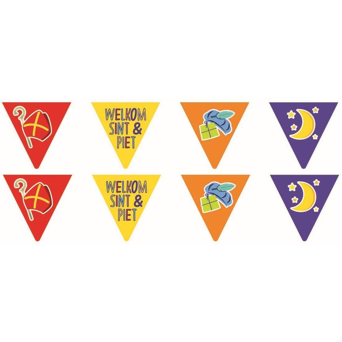 Merkloos 2x Vlaggenlijnen papier Sinterklaas Welkom Sint en Piet 6 meter feestversiering -