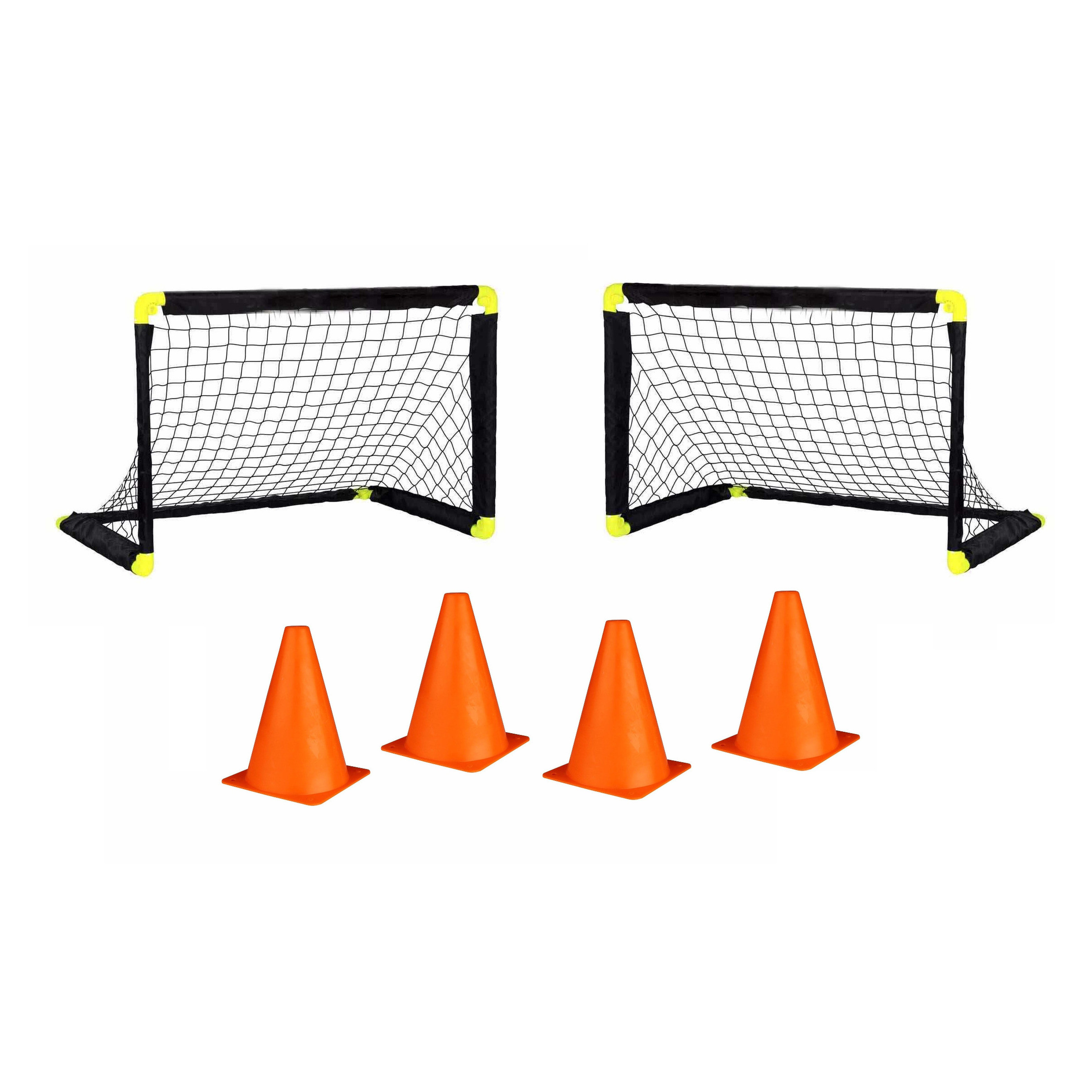 2x voetbal goals/doelen set met 4 oranje pionnen