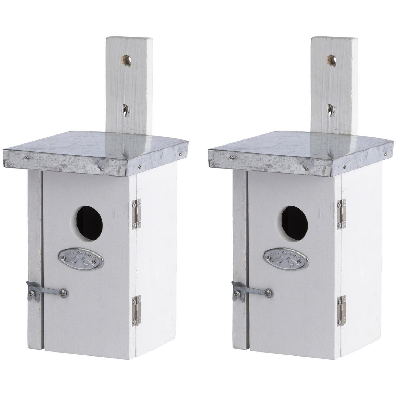 2x Vogelhuisjes/nestkastjes voor winterkoning 25.2 cm Wit