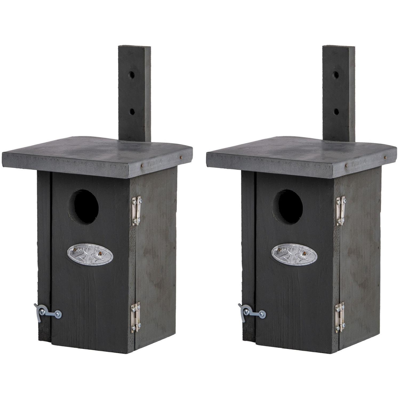 2x Vogelhuisjes / nestkastjes voor winterkoning 25.2 cm - Vogelhuisjes