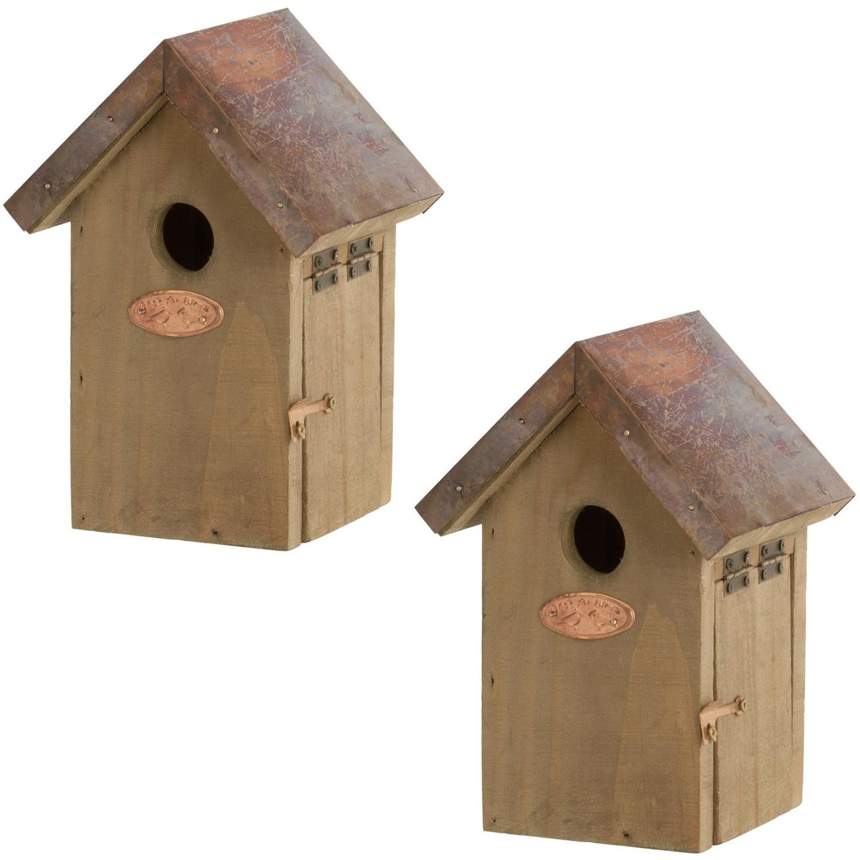 2x Vogelhuisjes/nestkastjes winterkoning 20 cm Bruin