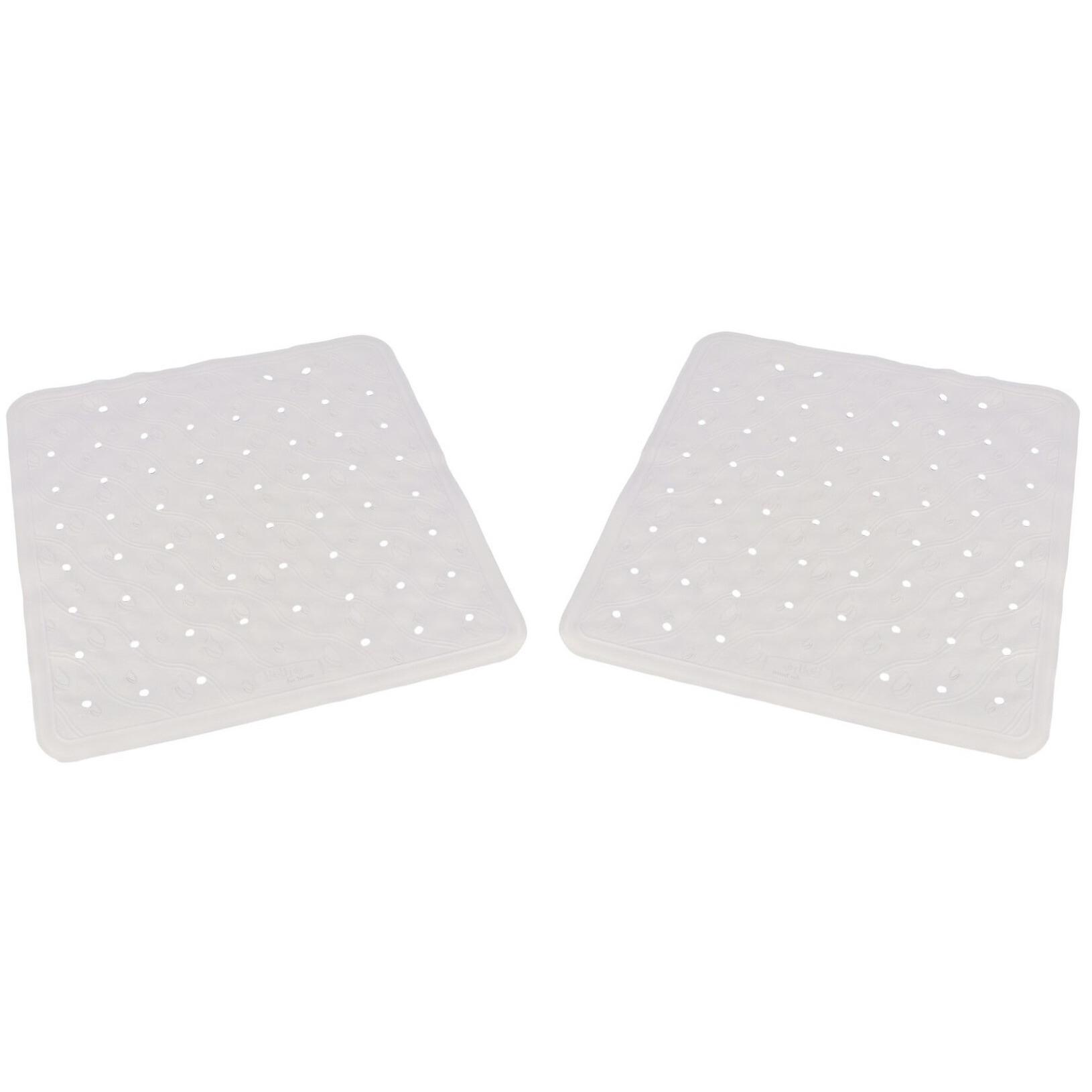 2x Witte anti-slip badmatten-douchematten 45 x 45 cm vierkant