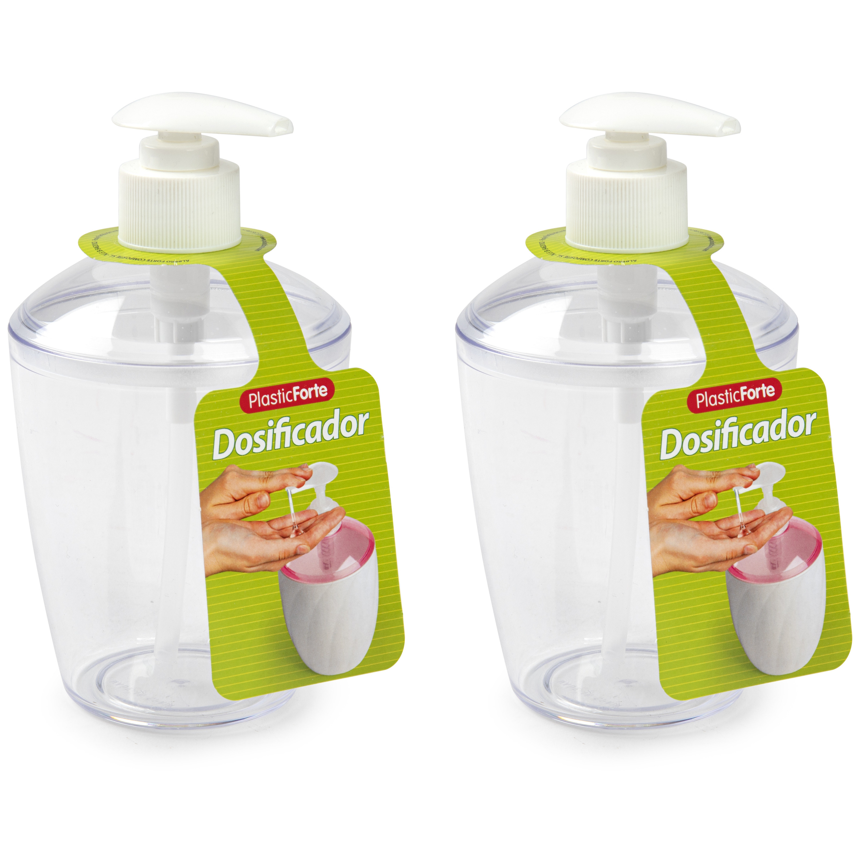2x Zeep pompjes-dispensers transparant 400 ml