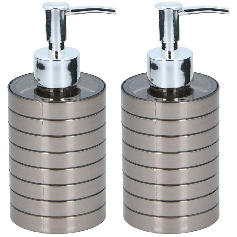 2x Zeeppompjes-zeepdispensers 300 ml zilver
