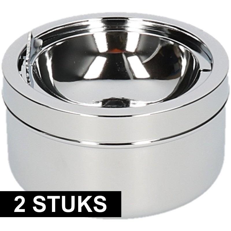 2x Zilveren klepasbakken/terrasasbakken 11 cm