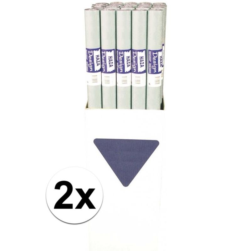 2x Zilveren papieren tafelkleed op rol