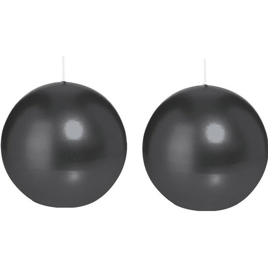 2x Zwarte bolkaarsen 8 cm 25 branduren