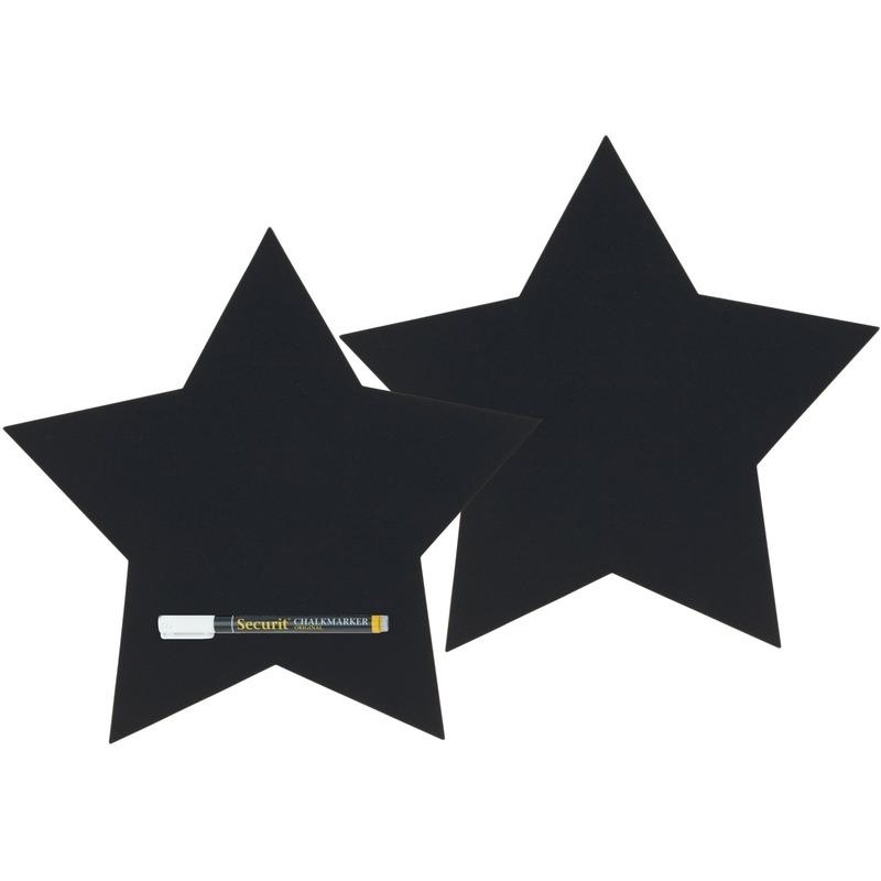 2x Zwarte sterren krijtborden 26 cm inclusief stift