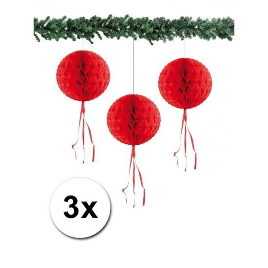 3 papieren Kerst decoratie ballen rood 30 cm