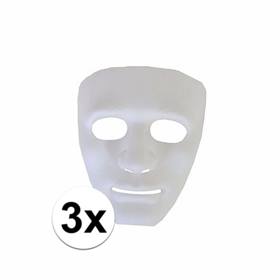 3 plastic spoken gezichtsmaskers