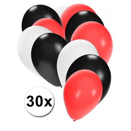 30 ballonnen wit-zwart-rood