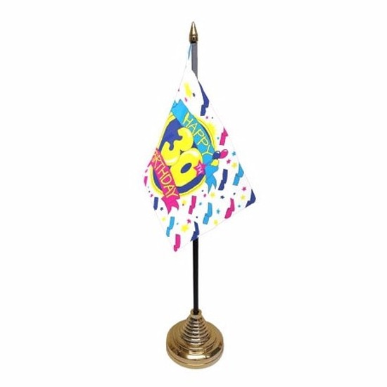 30ste verjaardag tafelvlaggetje 10 x 15 cm met standaard