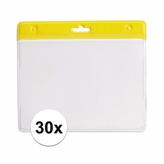 30x Badgehouder geel 11,5 x 9,5 cm