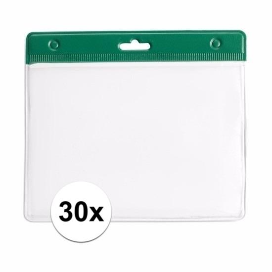 30x Badgehouder groen 11,5 x 9,5 cm