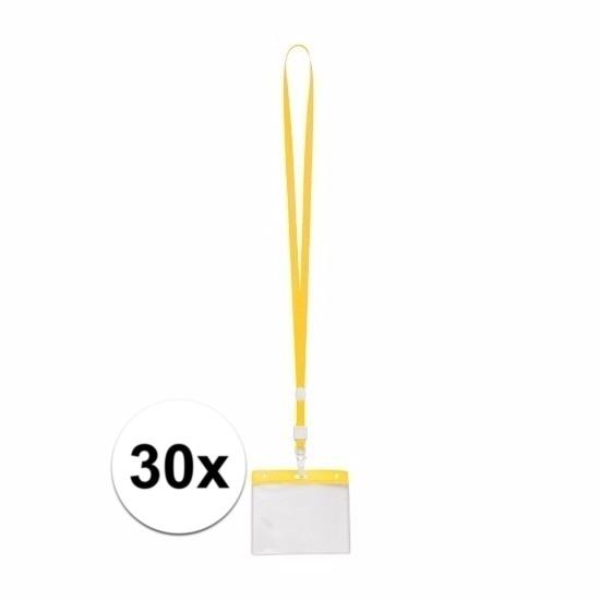 30x Badgehouder met geel keycord