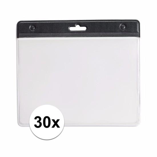 30x Badgehouder zwart 11,5 x 9,5 cm