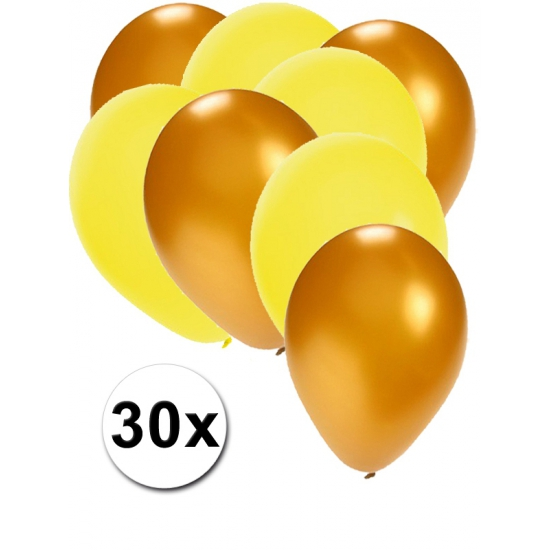 30x ballonnen - 27 cm - goud - gele versiering