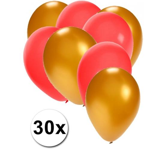 30x ballonnen - 27 cm - goud - rode versiering
