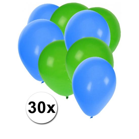 30x ballonnen - 27 cm- groen - blauwe versiering