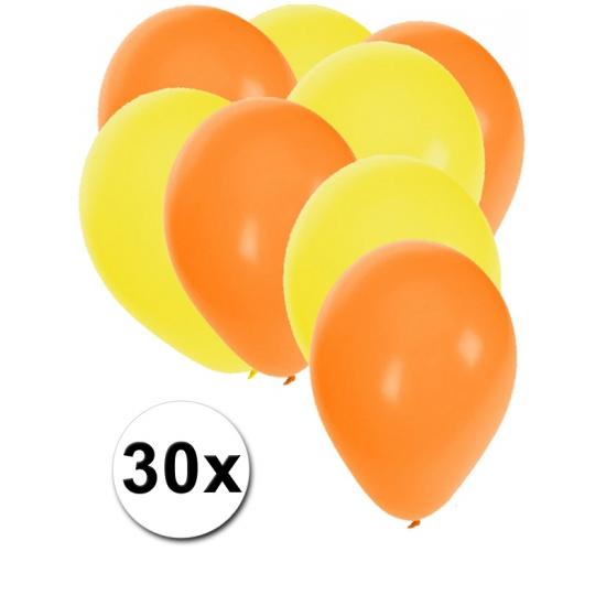 30x ballonnen - 27 cm - oranje - gele versiering