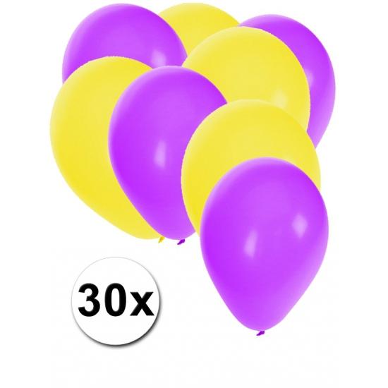 30x ballonnen - 27 cm - paars - gele versiering